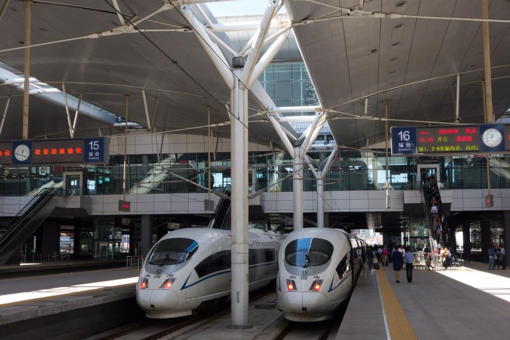 Im Hochgeschwindigkeitszug von Peking nach Tianjin