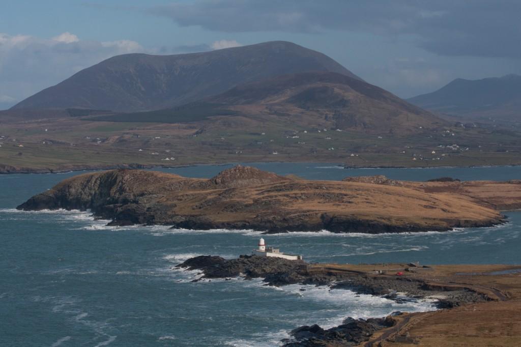 Wunderbar das Panorama mit dem Leuchtturm von Valentia Island